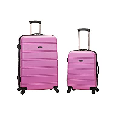 Rockland Luggage 20 Inch 28 Inch 2 Piece Expandable Spinner Set, Pink, One Size