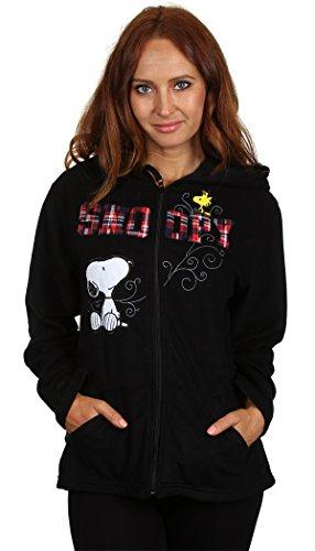 Peanuts Women's Snoopy & Woodstock Plush Fleece Full Zip Hoodie (L (12-14))