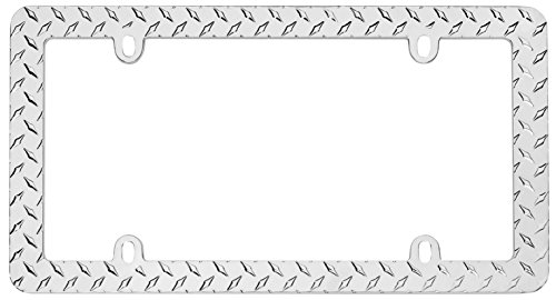 - Heavy Duty Silver Chrome Diamond Metal Stamp Car Truck License Plate Frame