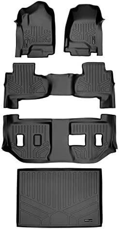 SMARTLINER Floor Mats 3 Rows and Cargo Liner Behind 3rd Row Set for 2015-2020 Suburban/Yukon XL (with 2nd Row Bench Seat)