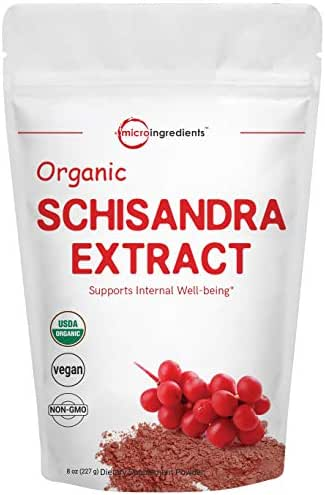 Organic Schisandra Extract Powder, 8 Ounce, Anti Aging Adaptogenic Herb, Powerfully Supports Liver Detox, Cognitive Health and Stress Relief, No GMOs and Vegan Friendly