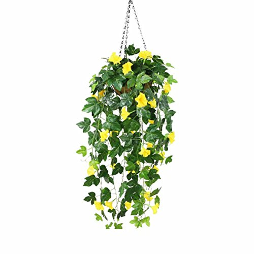 XHSP Artificial Hanging Plants Fake Vines Silk Ivy Leaves Greenery Garland Morning Glory Artificial Flower Bushes Coconut Palm Hanging Wall Basket Wedding Party Garden Wall Decoration
