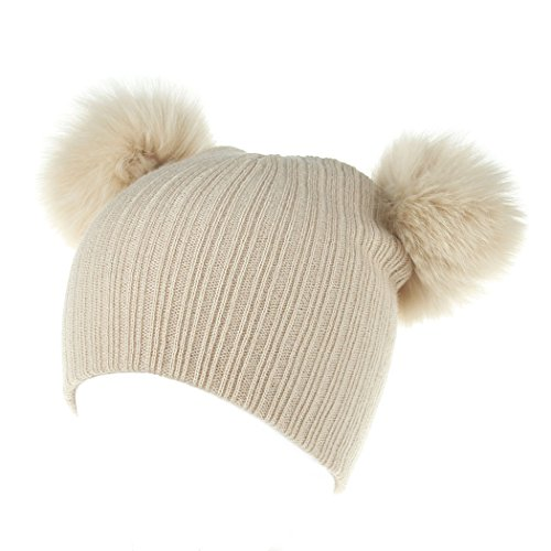 Raylans Baby Toddler Kids Warm Double Fur Pom Crochet Knit Beanie Hat Cap (Beige 3#)