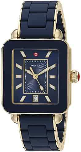 3eac3f7ae Michele Women's Deco Sport - MWW06K000017 Deep Blue Wrapped Silicone/Gold  Tone Case/Deep
