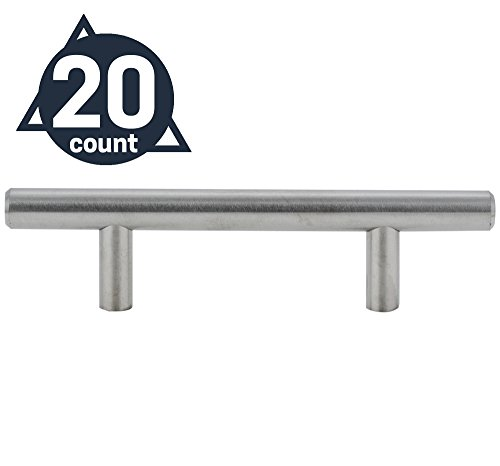 Stelwagen Fixtures - Modern European Style Kitchen Cabinet Stainless Steel Pulls, 3-Inches/76mm Hole Center Bar Pull (20 Pack) -