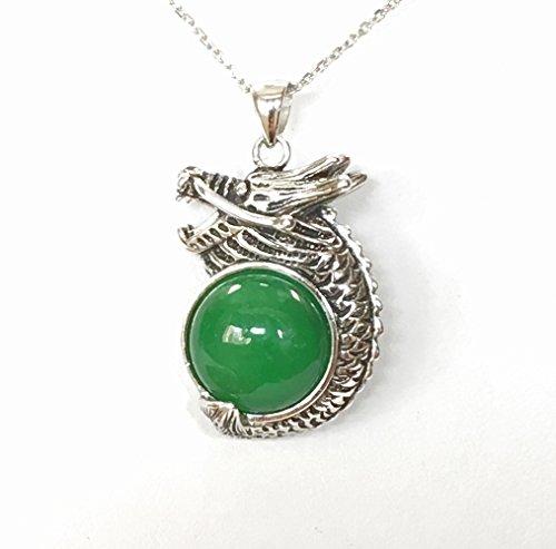 Pendant Magic Dragon Embrace a Round 12MM Green Jade (Burmese Jade Pendant)