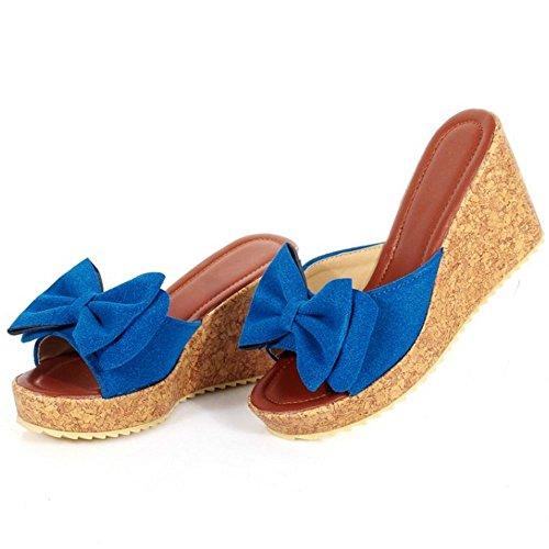 a Bow Sandales Mules enfiler Blue Talons a Compense Femmes Zanpa FqB4Z6
