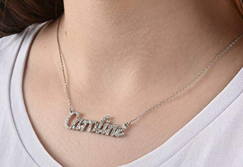 Silver Name Necklace, Cubic Zirconia Necklace, Gold Plate Necklace, Solid Silver Name Cz Necklace, Personalized Gift, Cursive Name Necklace