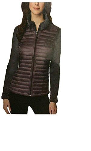32 DEGREES Women's Luxe Fur Mix Media Jacket - Eggplant Large Purple