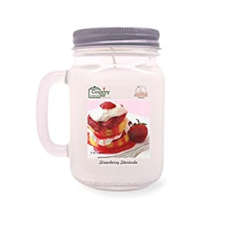 Country Jar Strawberry Shortcake Candle (Handled-Mason) 100% US Grown Soy Wax / 100 Burn Hours :::: March Sale!