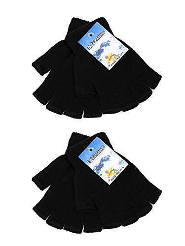 Satinior 2 Pair Unisex Half Finger Gloves Winter Stretchy Knit Fingerless Gloves in Common Size (Black)