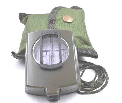 (Military Lensatic and Prismatic Sighting Survival Emergency Compass with Pouch)