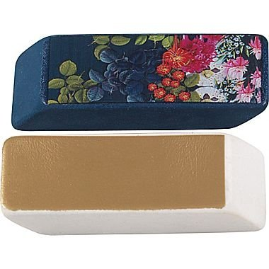 Cynthia Rowley Wedge Eraser, Gold and Blue Leaves, 2 Per Pack (26897)