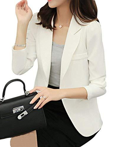 Autunno Giaccone Primaverile Giacche Con Business Tailleur Da Bianca Classiche Lunga Monocromo Slim Giacca Fashion Blazer Fit Manica Tasche Donna Casuali Cappotto Button Rz8x80A