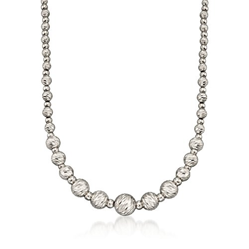 - Ross-Simons Italian Sterling Silver Diamond-Cut Bead Necklace