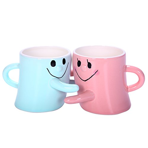 Super Marts Red and Blue New Novelty Lovely Cute Little White Hug Couples Coffee Tea Milk Ceramic Mug Cup Christmas Birthday Best Gift (Set of 2)