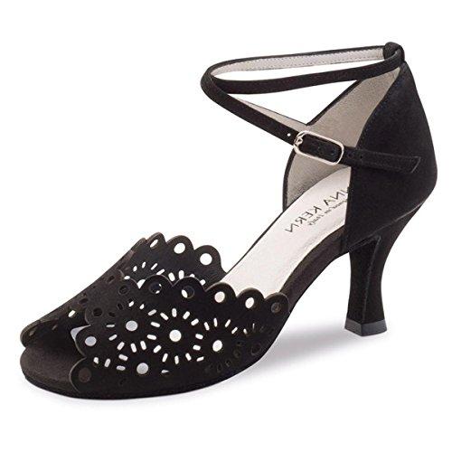 Anna Kern - Mujeres Zapatos de Baile 630-60 - Ante Negro - 6 cm Negro