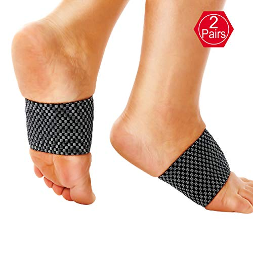 EHbee Compression Arch Support Brace, 2 Pairs Plantar Fasciitis Sleeve, Rimp Arch Compression Sleeve for Mens Womens, Best for Pain Relief, Heel Spurs, Flat Feet, High Arches Size M