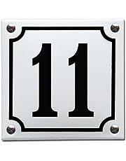 Emaille Huisnummer gebold Wit/Zwart - 11