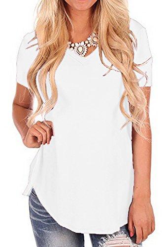 iGENJUN Women's Short Sleeve V-Neck Loose Casual Summer Tee T-Shirt Tops,XL,White-2