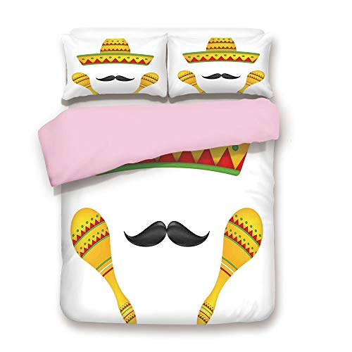 iPrint Pink Duvet Cover Set/Twin Size/Famous Centerpiece Icons Sombrero Moustache Rumba Shaker Mesoamerican Image/Decorative 3 Piece Bedding Set with 2 Pillow Sham/Best Gift for Girls Women/Yellow
