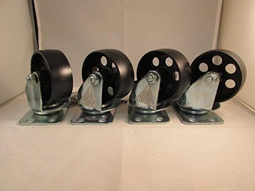 "(4) 3"" steel swivel wheels caster casters 330 lb rated capacity each from Unknown"