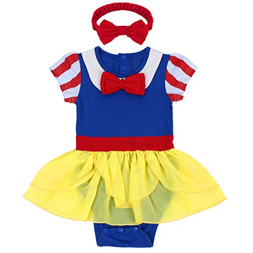 Baby Girls Snow White Princess Costume Halloween Xmas Fancy Party Romper Dress Ruffle Tulle Skirt One-Piece Bodysuit with Red Bowknot Headband 2Pcs Set First Birthday Photo Prop Outfits 0-6 -