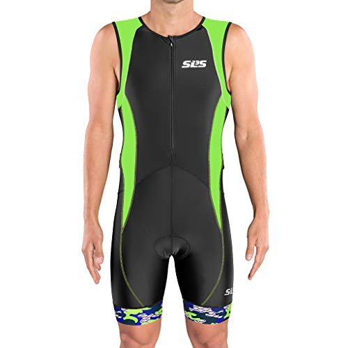 (SLS3 Triathlon Suit Men FX | Trisuit Mens | 2 Pocket Tri Suit | Trisuit Triathlon Men | German Designed (Black/Green, L))