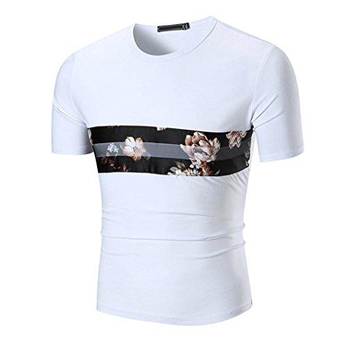 SPE969 Hot Sale! T Shirt Top Slim Printed Blouse Men's Casual Short Sleeve (Satin 9081)
