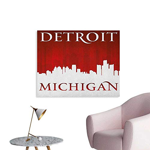 Anzhutwelve Detroit Photographic Wallpaper Michigan City Silhouette Red and White Composition with Classical Typography Poster Paper Red and White W28 xL20