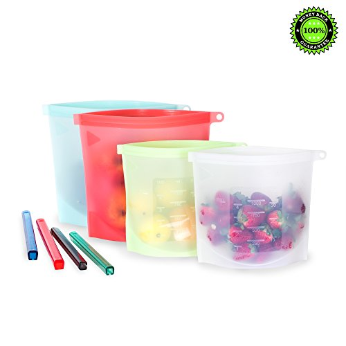 Reusable Food Storage Bags (Set Of 4) By Seabeez: 2 Large 1500ml & 2 Small 1000ml Silicone Bags -With Airtight Leak-Proof Sealing For Fresh Lunch, Snacks, Sandwich –Heating Freezing Dog & Baby Food Large Snack Bag