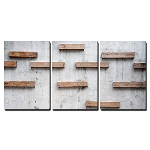 Wood Texture with Nature Form x 3 Panels