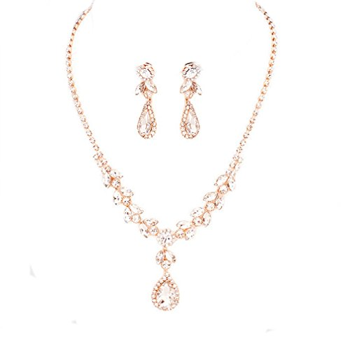 - Affordable Wedding Jewelry Elegant Clear Crystal Rhinestone Rose Gold Necklace Jewelry Earrings Set Prom Bride Pageant
