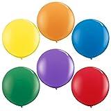 NYKKOLA 36 Inch Giant Latex Balloon (Premium Helium Quality),6 Pack Big Mixed Colors Balloons