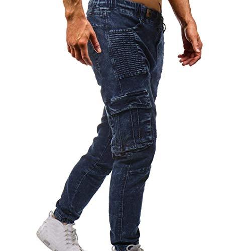 Ssige Slim T Cargo Uomo Fit Blau Chino Jeans Sportivi Classiche Estivi Ragazzi Da Pantaloni qawCHv