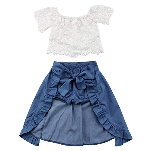 Toddler Baby Girls Off Shoulder Lace Crop Top