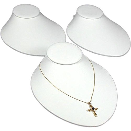 FindingKing 3 White Leather Necklace Busts Slatwall Jewelry Display