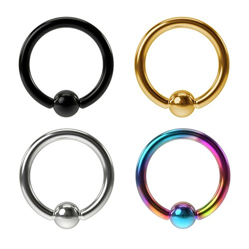 Captive Hoop Bead (4pc 16g Stainless Steel Captive Bead Ring Earrings Ball Gauge Hoop Tragus Daith Septum Helix BCR 8mm)
