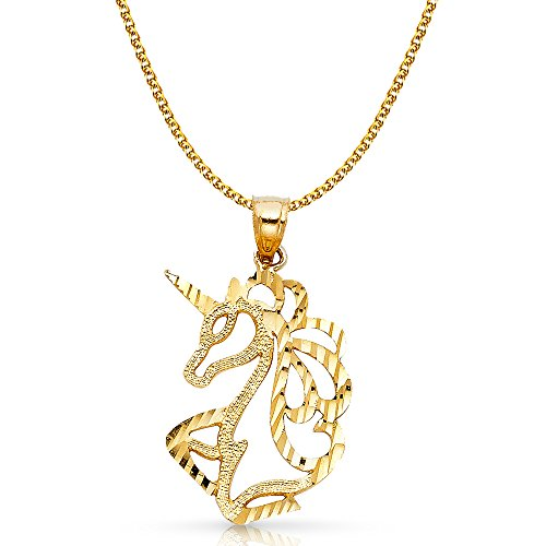 Ioka Jewelry - 14K Yellow Gold Unicorn Charm Pendant with 1.7mm Flat Open Wheat Chain Necklace - 16