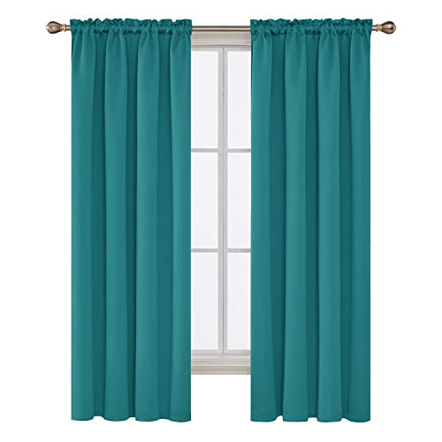 Deconovo Teal Blackout Curtains 2 Panels Sun Blocking Curtains Blackout Window Cover for Boys Room 42W x 72L Inch Teal 1 Pair