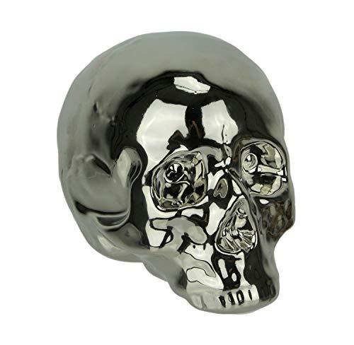 Zeckos Chrome Silver Finish Ceramic Human Skull Statue]()