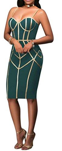 Cromoncent Strap Midi Spaghetti Print Green Bodycon Womens Dress Casual Skinny Y0Yqrx