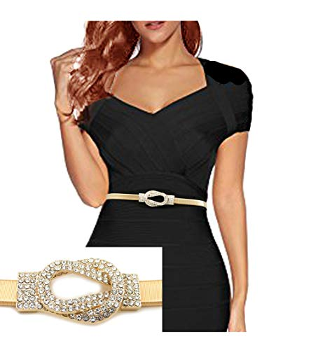 le Piece Stretch Waist Chain Belt Gold, Black, Rose Gold Tone (Gold - Shorter (24