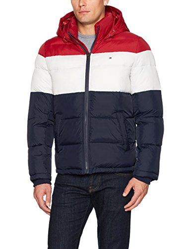 Tommy Hilfiger Men's Classic Hooded Puffer Jacket, Red/White/Midnight, Medium by Tommy Hilfiger