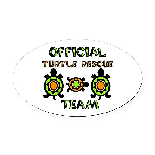 (CafePress - Official Turtle Rescue Team 1.Png - Oval Car Magnet, Euro Oval Magnetic Bumper Sticker)