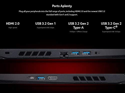 Acer Nitro 5 Gaming Laptop, 10th Gen Intel Core i5-10300H,NVIDIA GeForce GTX 1650 Ti, 15.6″ Full HD IPS 144Hz Display, 8GB DDR4,256GB NVMe SSD,WiFi 6, DTS X Ultra,Backlit Keyboard,AN515-55-59KS 413kDtjttNL