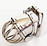 Ergonomic Stainless Steel Stealth Lock Male Chastity Device,Cock Cage,Fetish Virginity Penis Lock,Cock Ring,Chastity Belt,S076 Standard Version Size 1