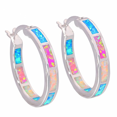 CiNily Created Blue Pink White Fire Opal Women Jewelry Gemstone Rhodium Plated Hoop Earrings 7/8