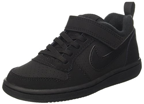 Nike 870025-001: Little Kid's Court Borough Low PSV Black/Black Sneakers (3 M US Little Kid) (Nike Court Borough Girls Basketball Shoes Big Kids)