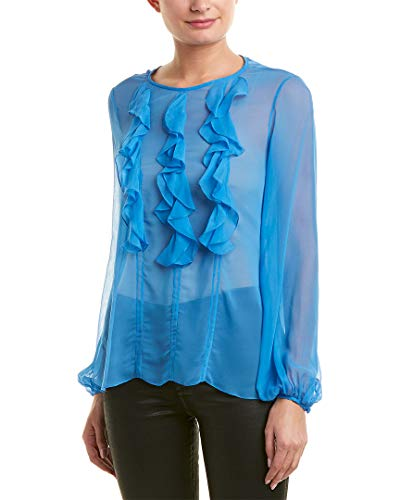 Prabal Gurung Womens Ruffle Front Silk Blouse, 2, Blue ()